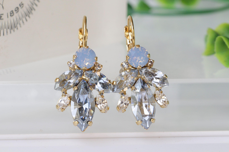 bd2e0fab22d4c8 DUSTY BLUE EARRINGS Vintage Crystal EarringsBridal Ice Blue