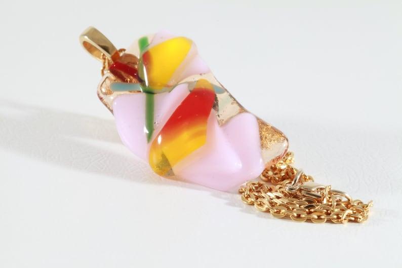Handmade Glass Pendant Fused Glass Jewelry Multicolor Fused Glass Necklace for Her Fused Glass Necklace Pink Yellow Red Glass Necklace