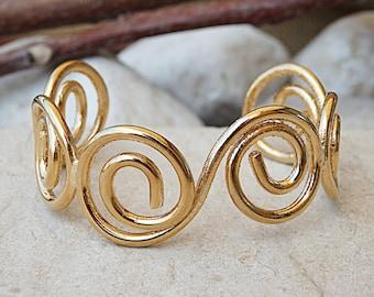 Gold plated open bracelet, Gold spiral bracelet, Wire open bracelet, Gold cuff bracelet, Open cuff bracelet, Everyday open cuff bracelet