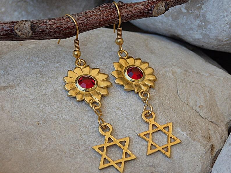 6238c36d56d3c Star Of David Earrings. Gold Jewish Jewelry. Red Swarovski Earrings. Drop  Jewish Symbolic Earrings. Magen David Star Charms Jewelry Gift