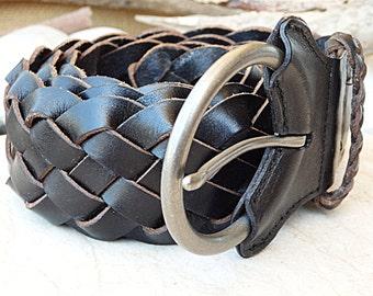 Black Braided Belt, Black Leather Belt, Woven Leather Belt, Men Women leather belt, Woven Black Belt, Leather Belts.  Circle Buckle for man