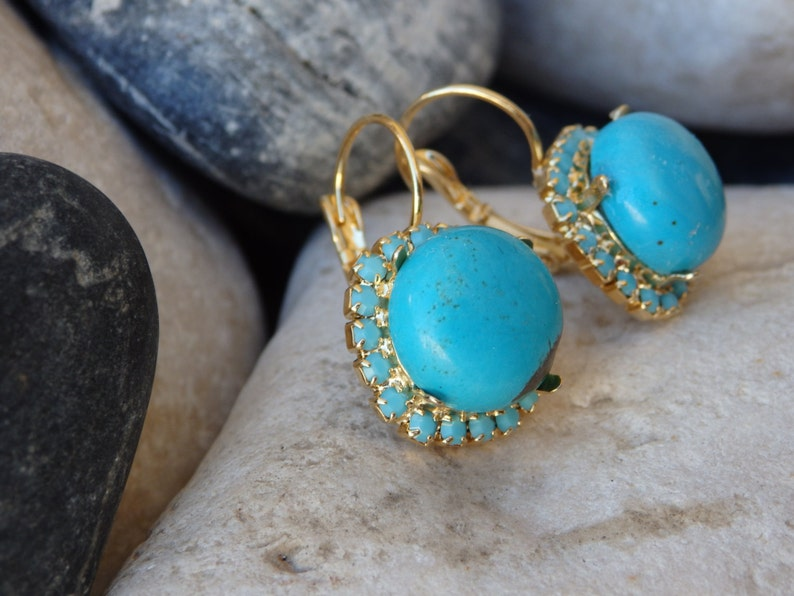 Gold Turquoise Drop Earrings Rounded Turquoise Earrings Turquoise Jewelry December Birthstone Blue Gemstone Earrings Reiki Earrings