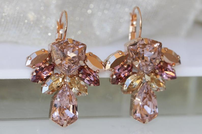 20f0db9b3 BLUSH CHAMPAGNE EARRINGS Swarovski Rose Gold Earrings Bridal | Etsy