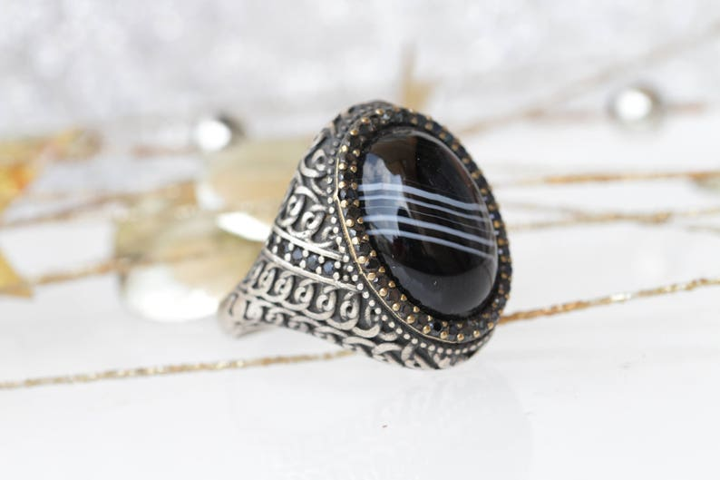 2030a63a5fe9d Black stone ring, Onyx signet ring, Oval big ring, Statement men's ring,  Women Cubic Zirconia ring. Silver Signet Ring, Silver Zirconia Ring