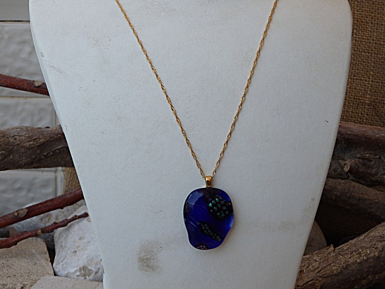 Artisan glass jewelry Organic necklace.Mother/'s Day Gift Handmade Glass Pendant Glass Necklace Blue Glass Necklace Fused Glass Jewelry