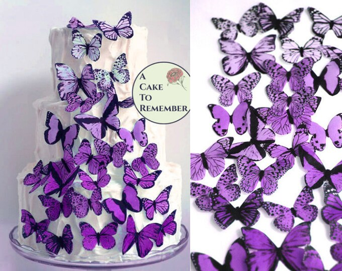 24 DAMASK Print Design Butterflies Edible Decorations Cup Cake Toppers