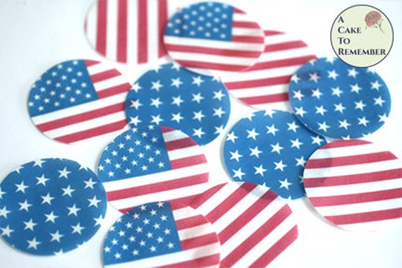 12 Butterfly USA American Stars /& Stripes Flag Edible Wafer paper Cake Toppers Decorations