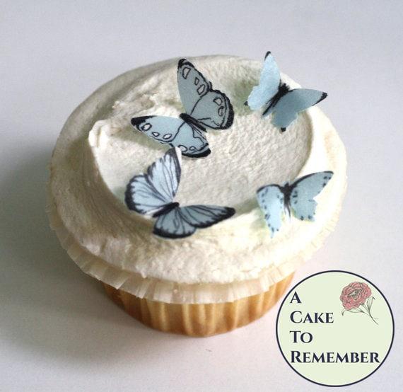 Sensational 24 Small Light Blue Edible Butterflies Set For First Birthday Birthday Cards Printable Benkemecafe Filternl