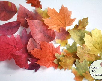 """15 edible decoration fall wedding cake topper leaves, color on both sides 1"""" to 3"""", wafer paper. Autumn leaf fall wedding cupcake toppers."""