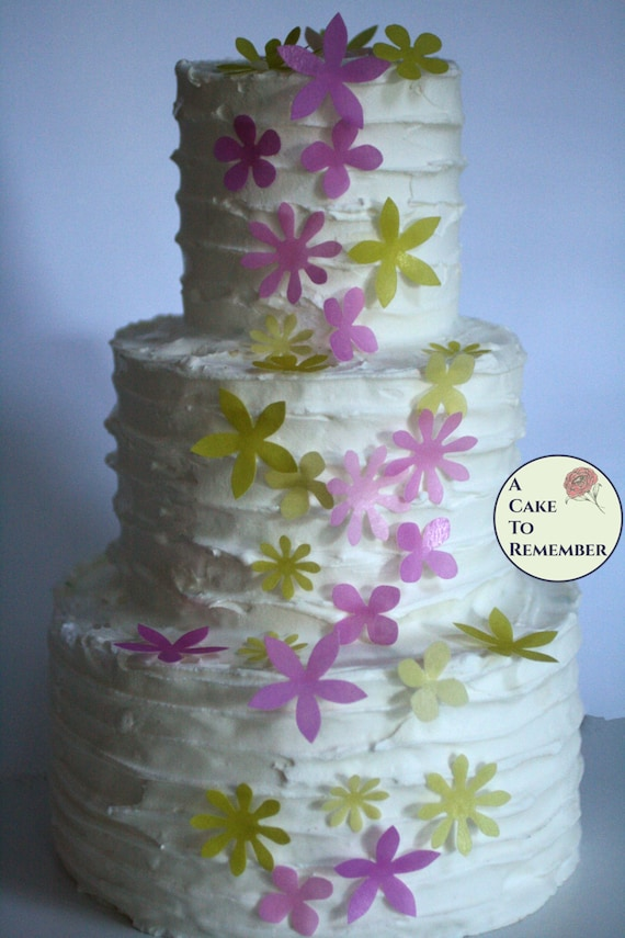 50 Wafer Paper Flowers Edible Flowers For Cupcakes And Cake Etsy