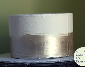 """6"""" round silver banded fake cake for photo shoots and home staging. Faux cake wedding cake cupcake display, food prop. Engagement prop."""
