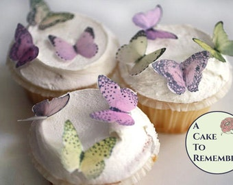 """24 small edible butterfly cupcake toppers, 1.25"""" Wedding cake topper, shades of pink and yellow wafer paper butterflies for cake decorating."""