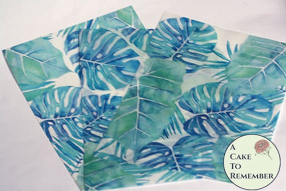 image relating to Printable Edible Paper called 3 sheets of tropical palm and monstera leaf released edible
