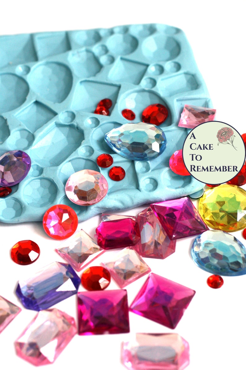 Three sizes jewels soap texture mat to make a gem design for soapmaking, or  a fondant border for cake decorating  Jewels impression mat