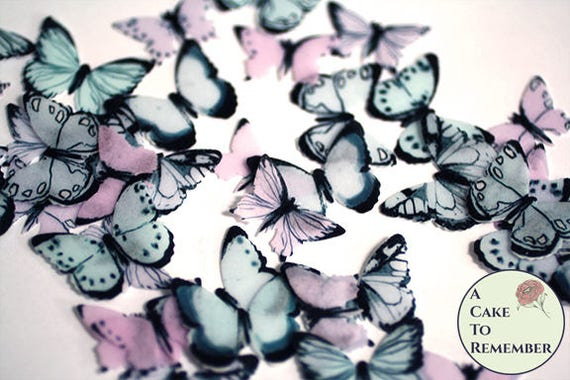Edible Pink and Black Butterflies--14 PreCut Edible Butterflies