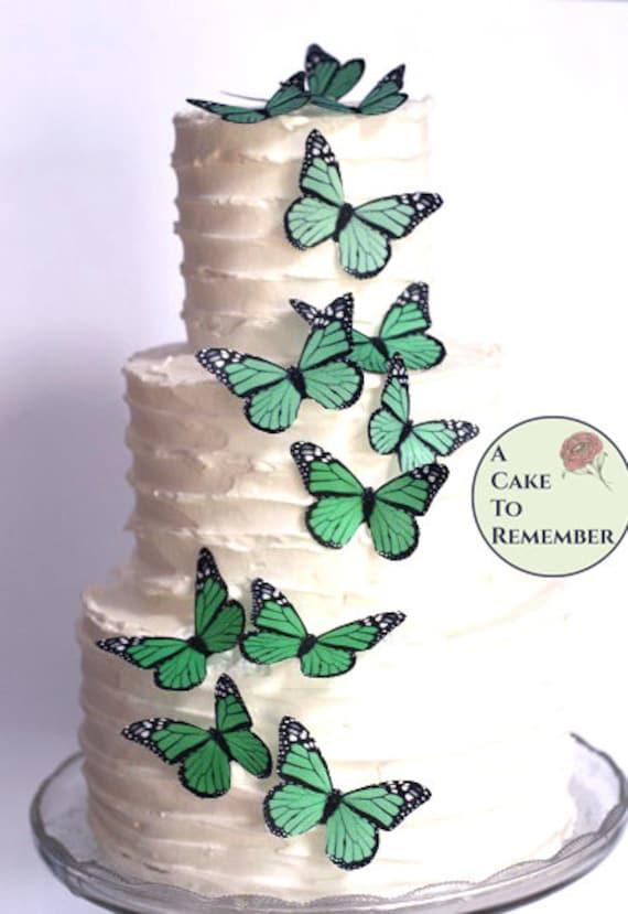 Green Butterfly Butterflies Wedding Cake Topper Decorations