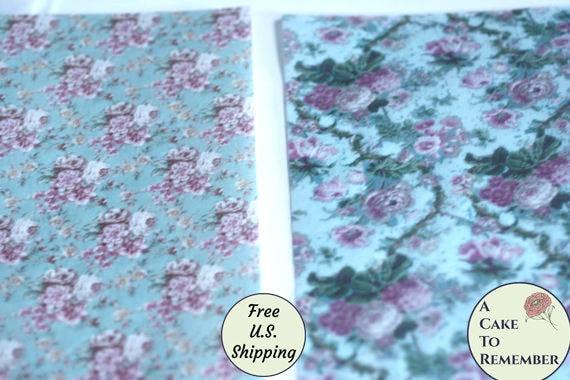 2 feuilles pleines floral imprimé wafer, wafer décoration à motifs papier pour la décoration wafer de gâteau. 8 «x 10,5» papier comestible imprime, fleurs de papier plaquette. c1e1e4
