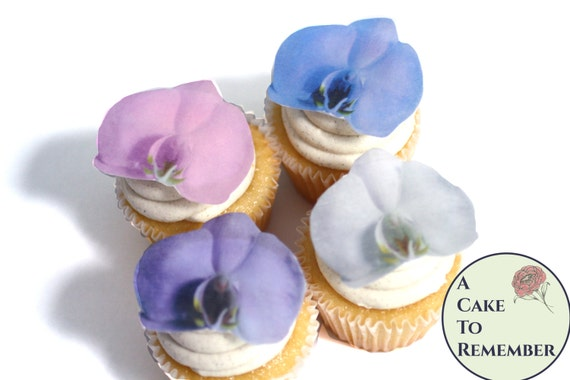Orchid Flower Cake//Cupcake Topper Decoration On Edible Wafer Rice Paper