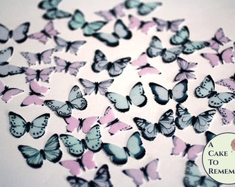 "48 small pink blue, lavender edible butterflies, pastel goth birthday ideas 1/2""-3/4"" sized cake or cupcake topper, cake pops decoration"