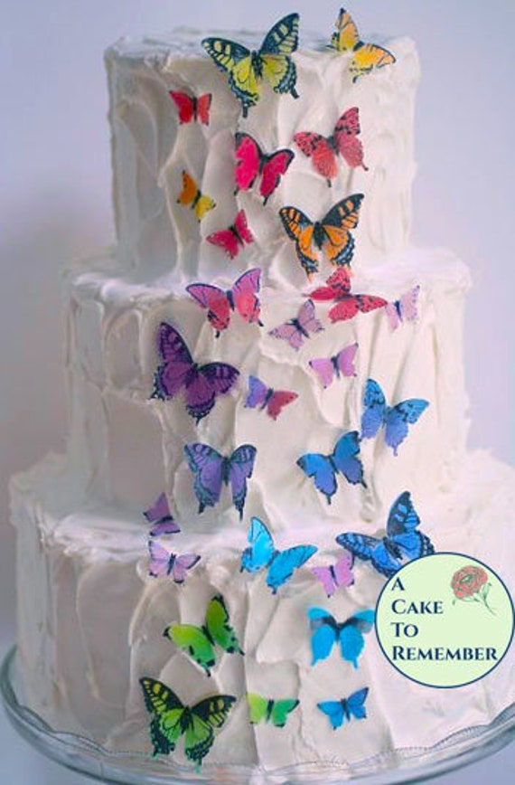 Rainbow Edible Butterflies 28 Assorted Sizes For Wedding Cake Or
