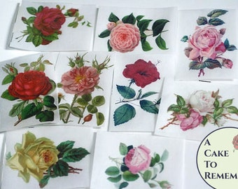 """12 vintage flower images, edible pictures for cookies and cookie decorating.2.5"""" x 3.5"""" Edible photos for vegan cakes and cookies."""