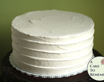 """8"""" round faux cake, ridged icing fake cake for photo shoots and home staging. Wedding cake topper display, food prop or theatrical prop"""