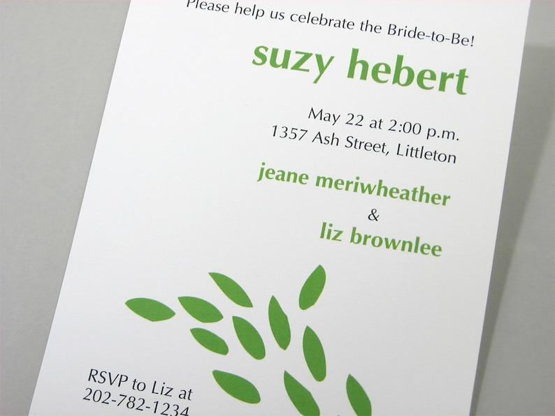 Bridal Shower Invitation Casual Bright Green Leaves Informal Wedding Shower Bridesmaids Custom Invite