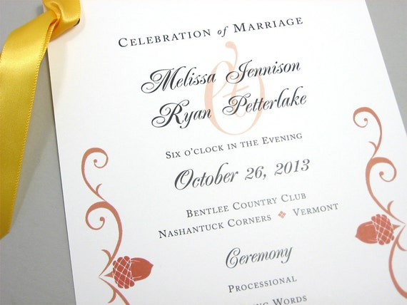 fall wedding program autumn acorn rust scroll wedding ceremony etsy
