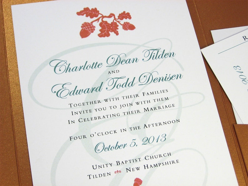 Autumn Wedding Invitation Pocketfold Elegant Acorn Oak Leaf image 0