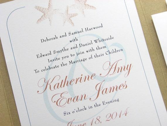 Großartig Strand Hochzeit Einladung Golden Starfish Custom Recycling