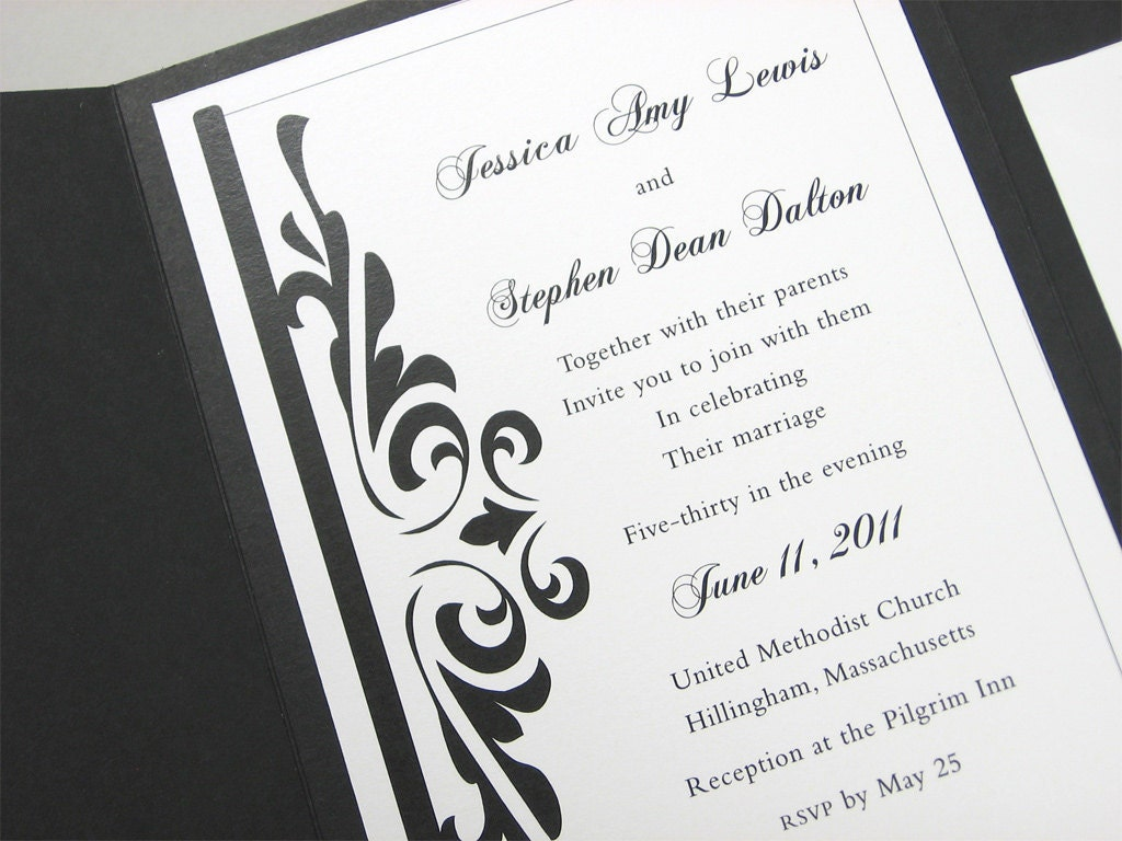 Traditional Elegant Wedding Invitations: Custom Pocketfold Wedding Invitation Traditional Elegant