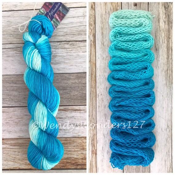 Gradient Dyed Yarn, Hand dyed yarn, Gradient yarn, Wool/Silk, DK Weight,  Caribbean