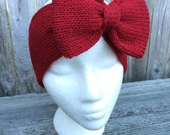 Holiday Headband, Red Bow, Knit Bow Headband, Bow Headband, Adult Headband, Knit Headband with Bow, Women's Gift
