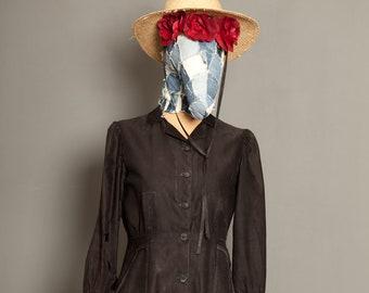 Antic Black Work Coat French 1930 (M)