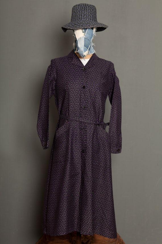 French Women Black Work Dress Coat vintage 50 (S/M