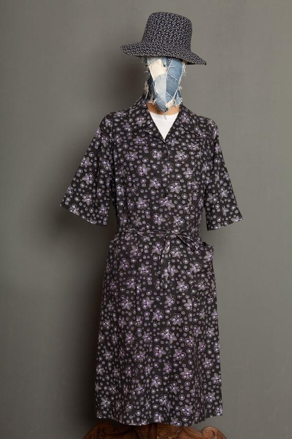 French Women Black Work Dress Coat vintage 50 (L)