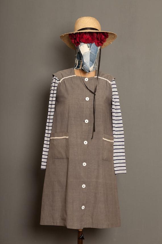 Grey French worker women blouse coat (M)