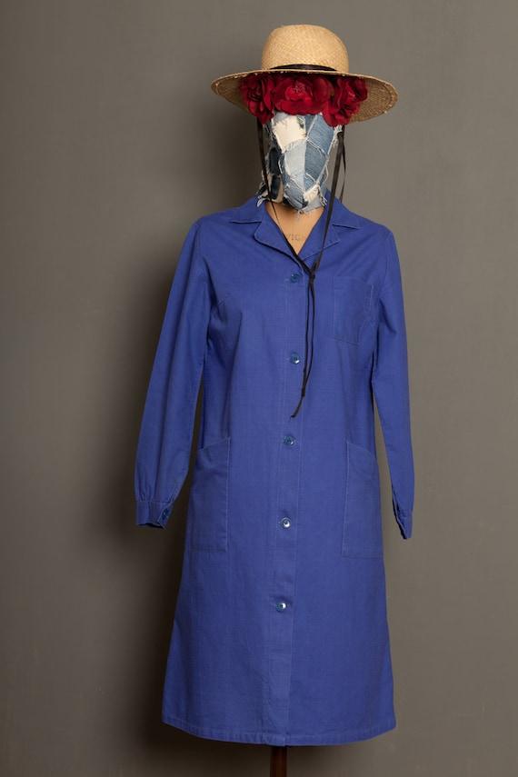 Indigo French worker women blouse coat (M)
