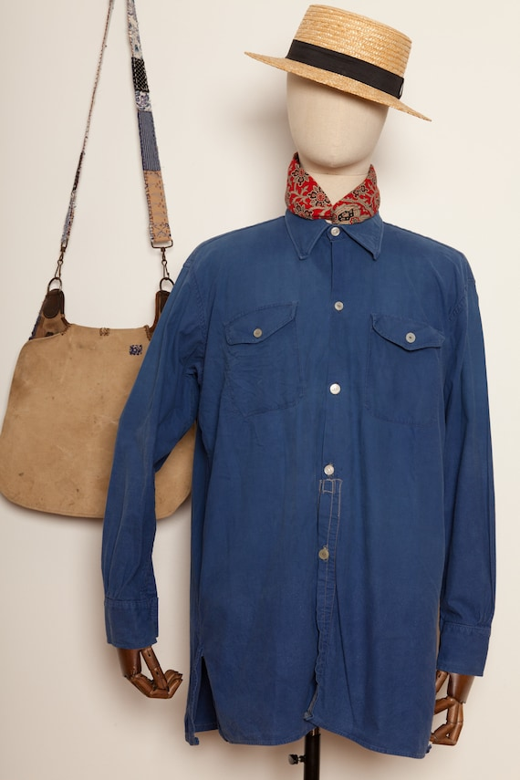 French Indigo workwear Shirt (L)