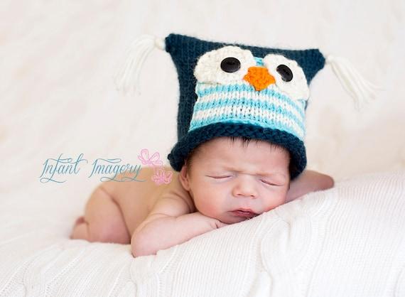 Owl Hat Knitting Pattern Baby Owl Hat Pattern Baby Etsy