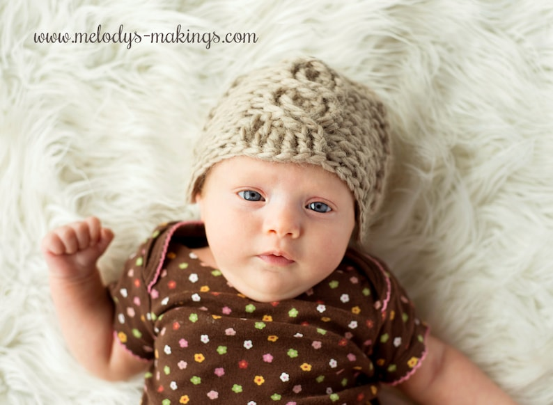Cabled Beanie Crochet Pattern  All Sizes Newborn Baby image 0