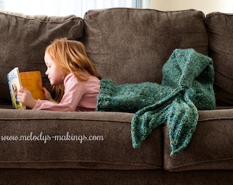 Child Mermaid Tail Blanket Knitting Pattern - Mermaid Tail Blanket Knitting Pattern -  Knit Mermaid Tail Blanket Pattern
