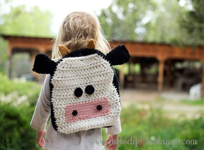 Cow Backpack Crochet Pattern  Crochet Backpack Pattern image 0