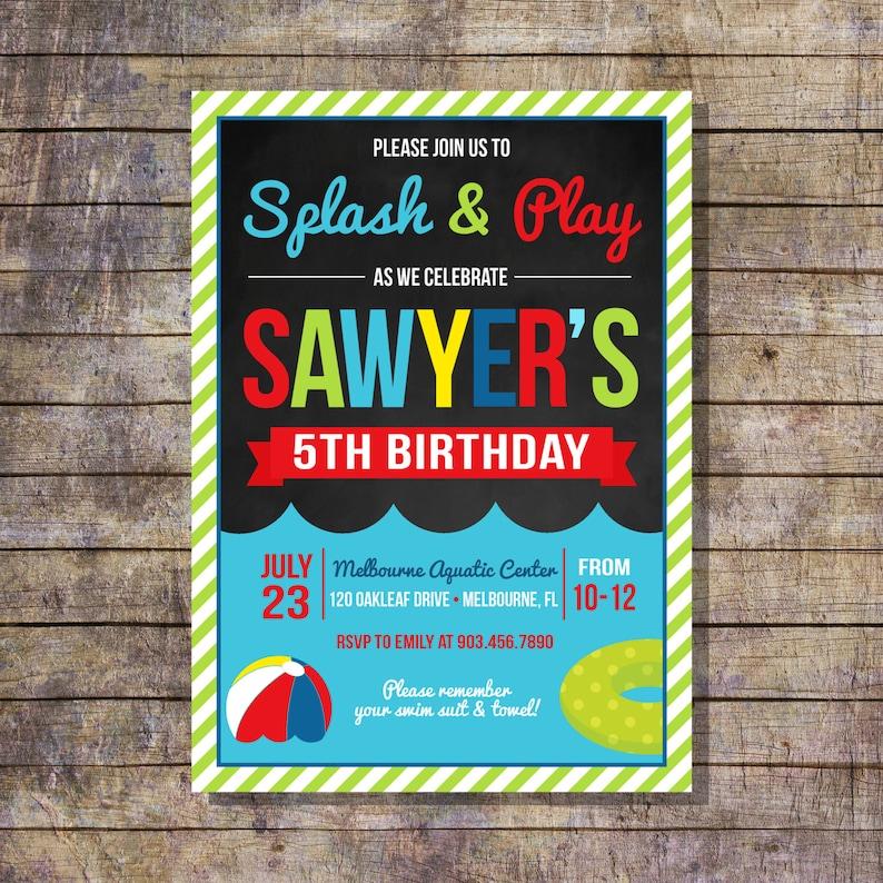 Pool Party Invite Childrens Birthday Invitation DIY