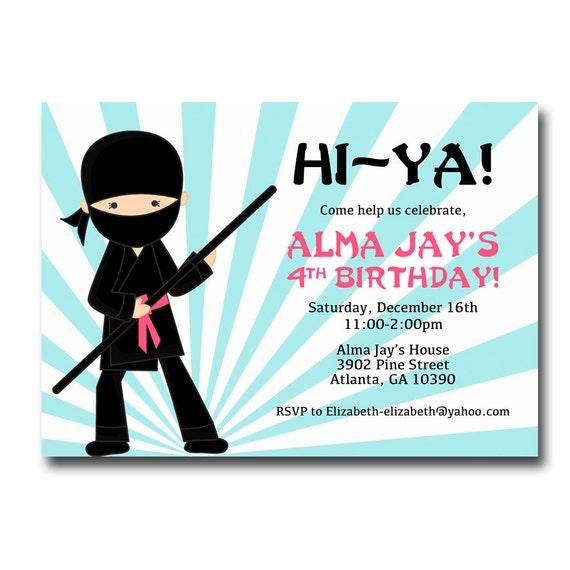 Printable Girl Ninja Birthday Invitation Party Invite