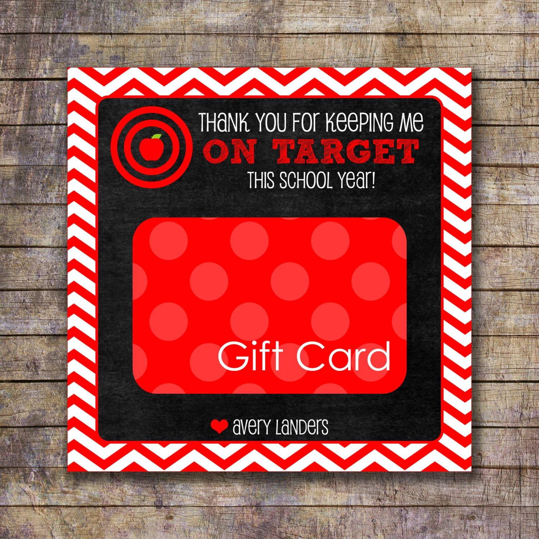 Printable On Target Teacher Appreciation Gift Card Holder | Etsy