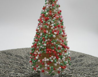 red green beaded bottle brush tree sisal trees 6 inches tall miniature christmas tree w sparkles woodland tree wood base qty 1