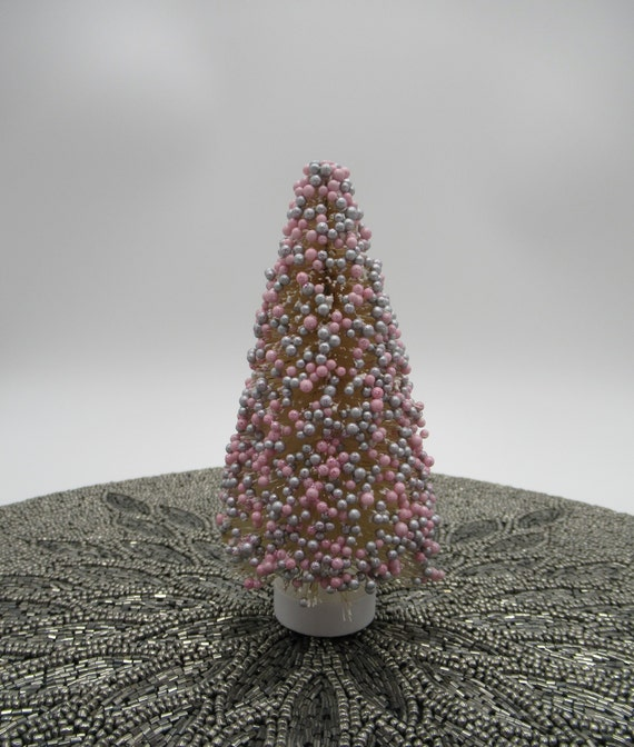 Sisal Bottle Brush Tree Pink Silver Beaded 6 Inches Miniature Christmas Tree W Sparkles Mini Woodland Tree Wood Base Qty 1