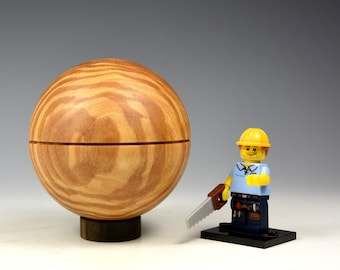 Rippled olive ash wooden sphere box, wood turning, gifts for men, fathers day, fromthetree