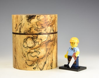 Spalted tamarind & Turkish walnut wooden box, wood turning, gift for men, fromthetree